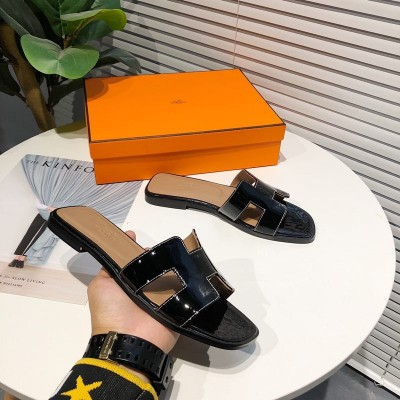 Hermes Oran Sandal Nappa Leather In Black