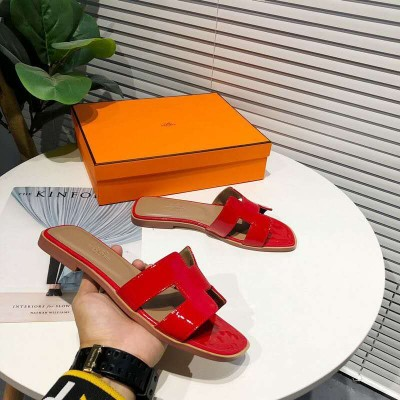 Hermes Oran Sandal Nappa Leather In Red