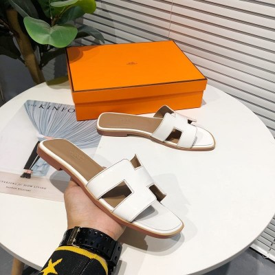 Hermes Oran Sandal Nappa Leather In White