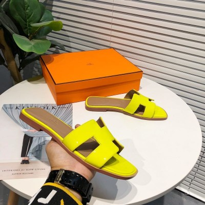 Hermes Oran Sandal Nappa Leather In Yellow
