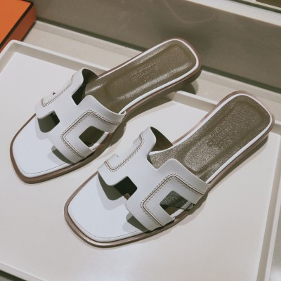 Hermes Oran Sandal Stitched Calfskin In White