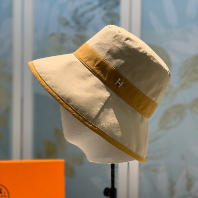Hermes Crystal H Patchwork Bucket Hat In Beige