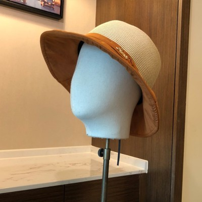 Hermes Bowknot Patchwork Straw Hat In Brown