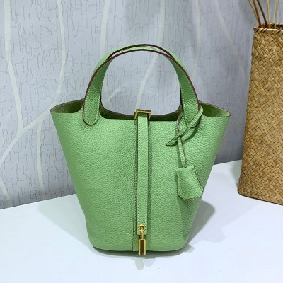 Hermes Picotin Lock Bag Clemence Leather Gold Hardware In Mintgreen