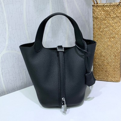Hermes Picotin Lock Bag Clemence Leather Palladium Hardware In Black