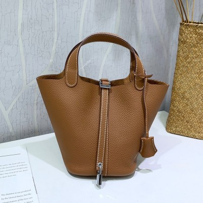 Hermes Picotin Lock Bag Clemence Leather Palladium Hardware In Brown