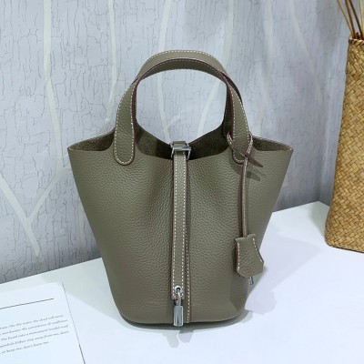 Hermes Picotin Lock Bag Clemence Leather Palladium Hardware In Military Green