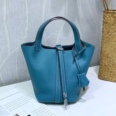 Hermes Picotin Lock Bag Clemence Leather Palladium Hardware In Teal