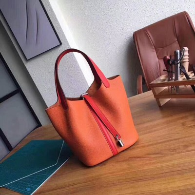Hermes Picotin Lock Bag Color Blocking Clemence Leather Palladium Hardware In Orange