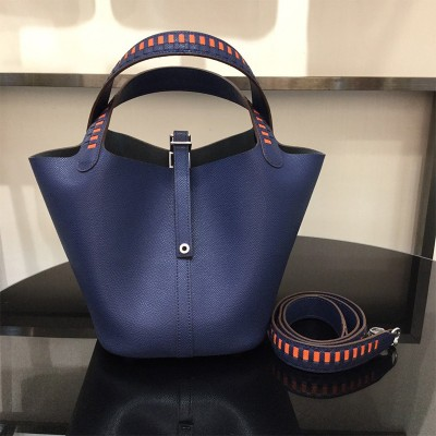 Hermes Picotin Lock Bag Tressage Epsom Leather Palladium Hardware In Navy Blue