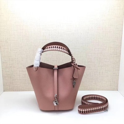 Hermes Picotin Lock Bag Tressage Epsom Leather Palladium Hardware In Pink