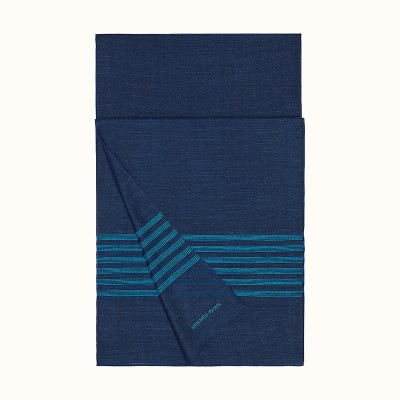 Hermes Plume Stitching Stole In Navy Blue