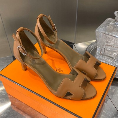 Hermes Premiere 70 Sandal Calfskin In Brown