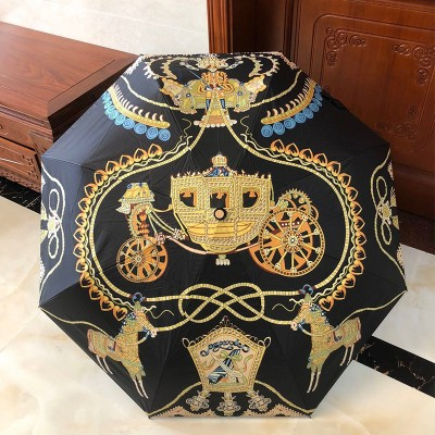 Hermes Carriage Print Umbrella In Black