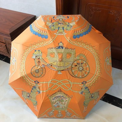 Hermes Carriage Print Umbrella In Orange