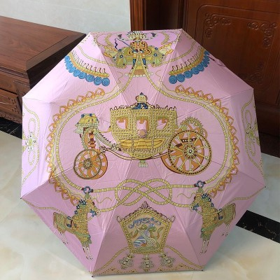 Hermes Carriage Print Umbrella In Pink