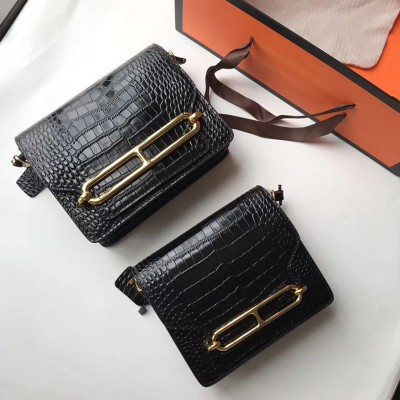 Hermes Roulis Bag Alligator Leather Gold Hardware In Black