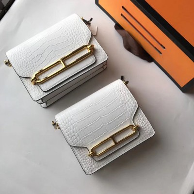 Hermes Roulis Bag Alligator Leather Gold Hardware In White