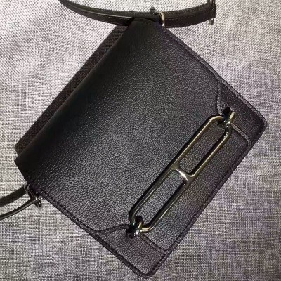 Hermes Roulis Bag Calfskin Leather Palladium Hardware In Black