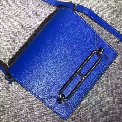 Hermes Roulis Bag Calfskin Leather Palladium Hardware In Blue