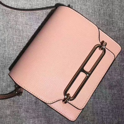 Hermes Roulis Bag Calfskin Leather Palladium Hardware In Pink