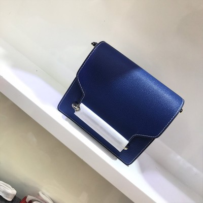 Hermes Roulis Bag Epsom Leather Palladium Hardware In Blue