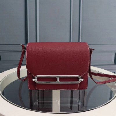 Hermes Roulis Bag Epsom Leather Palladium Hardware In Burgundy