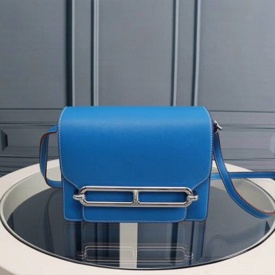 Hermes Roulis Bag Epsom Leather Palladium Hardware In Sky Blue