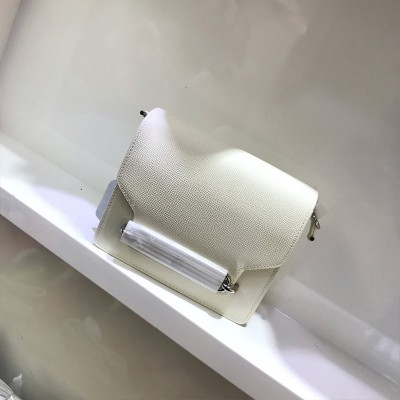 Hermes Roulis Bag Epsom Leather Palladium Hardware In White