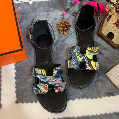 Hermes Santorini Sandal With Fantaisie Botanique Print And Calfskin In Black