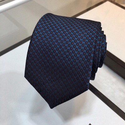 Hermes H Silk Tie In Blue