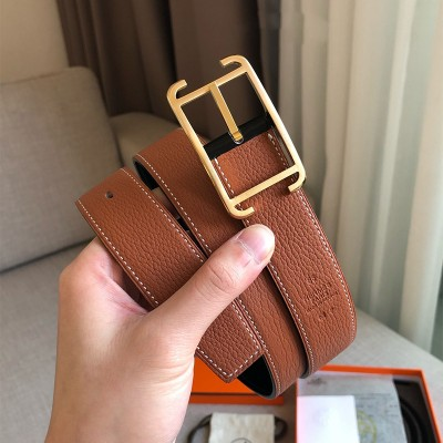 Hermes Society Buckle 32MM Reversible Belt Togo Leather In Brown