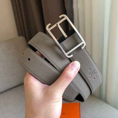 Hermes Society Buckle 32MM Reversible Belt Togo Leather In Grey