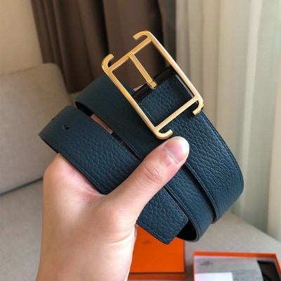 Hermes Society Buckle 32MM Reversible Belt Togo Leather In Teal
