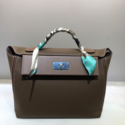 Hermes Taurillon Maurice Bag Calfskin Palladium Hardware In Coffee