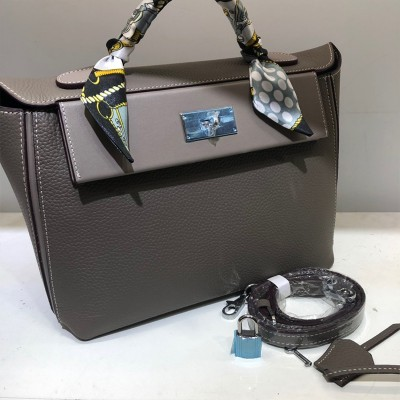 Hermes Taurillon Maurice Bag Calfskin Palladium Hardware In Grey