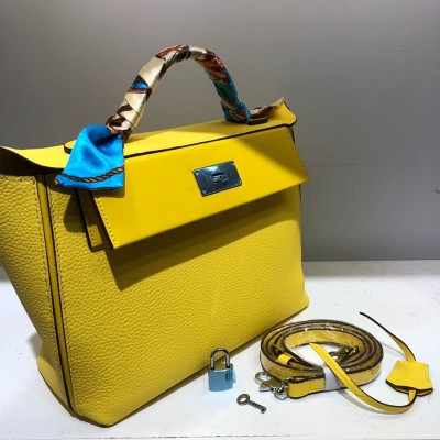 Hermes Taurillon Maurice Bag Calfskin Palladium Hardware In Yellow