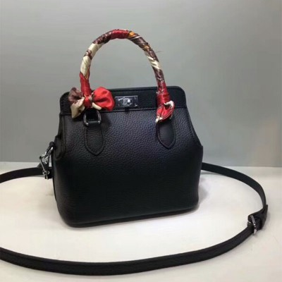 Hermes Toolbox Bag Swift Leather Palladium Hardware In Black