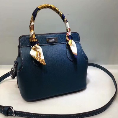 Hermes Toolbox Bag Swift Leather Palladium Hardware In Blue