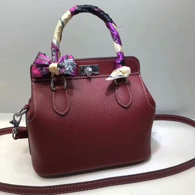 Hermes Toolbox Bag Swift Leather Palladium Hardware In Burgundy