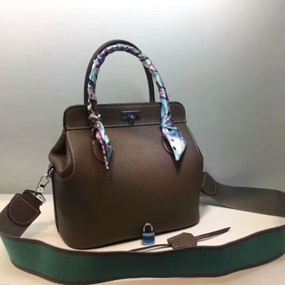 Hermes Toolbox Bag Swift Leather Palladium Hardware In Coffee