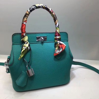 Hermes Toolbox Bag Swift Leather Palladium Hardware In Green