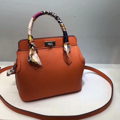 Hermes Toolbox Bag Swift Leather Palladium Hardware In Orange