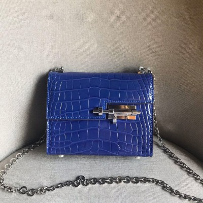 Hermes Verrou Chaine Mini Bag Alligator Leather Palladium Hardware In Blue
