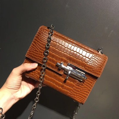 Hermes Verrou Chaine Mini Bag Alligator Leather Palladium Hardware In Brown