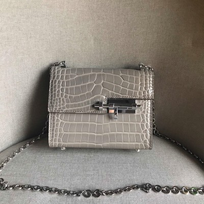 Hermes Verrou Chaine Mini Bag Alligator Leather Palladium Hardware In Grey