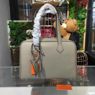 Hermes Victoria II Fourre-tout Bag Clemence Leather Palladium Hardware In Grey